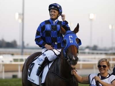 Damien Browne with Buffering after winning the Al Quoz Sprint
